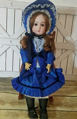 "24"" Antique Reproduction TETE JUMEAU Doll L Garrard 1978 Beautiful Dress Outfit"