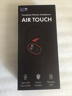 TBI Pro True Wireless Headphones Air Touch W/Charging Case Black/Red New