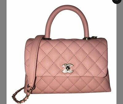 84496b916520 Rare Chanel Mini Coco Handle Pink. Caviar Classic Double Flap Bag Aged Ghw