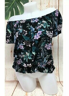 1dbdb98becc0db American Eagle Off Shoulder Blouse Top Womens Large Black Tropical Hawaiian  AEO