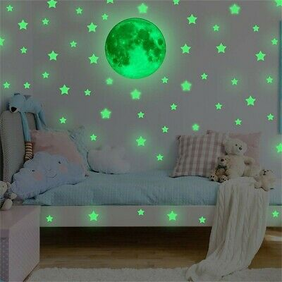Glow In The Dark Luminous Stars And Planet Moon Space Wall Stickers Decal NEWEST