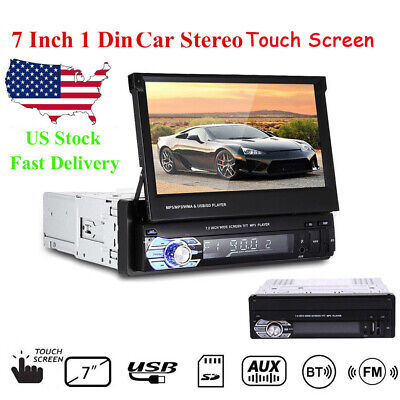 7'' 1 Din Car Radio FM Head Unit Audio Bluetooth Stereo Flip Out Touch Screen SD