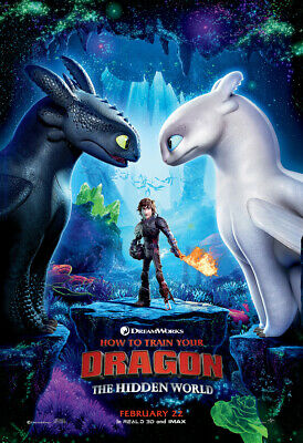 HOW TO TRAIN YOUR DRAGON 3 THE HIDDEN WORLD MOVIE POSTER ORIGINAL Feb 22 27x40