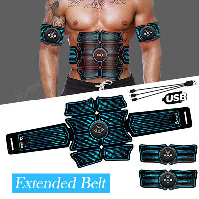 USB Rechargeable EMS Abdominal Toning Belt Abs Muscle Toner Stimulator Fitness
