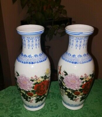 Pair Of LOVELY Vintage QING DYNASTY FAMILLE ROSE Porcelain Vases~Chrysanthemum!