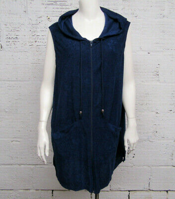 36359cf954563 WOMEN'S CATALINA STRETCH Terry Hoodie Zip Front Cover Up - Vest sz M ...
