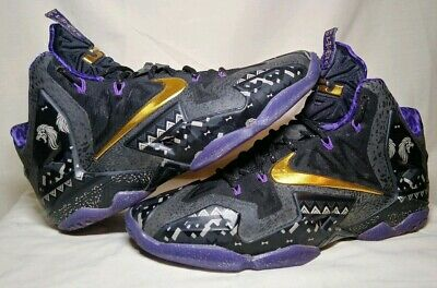 buy popular 30198 c797a NIKE LEBRON XI 11 BHM BLACK HISTORY MONTH ANTHRACITE PURPLE GOLD 646702-001  Sz 8