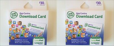 $60 Worth - 2 LeapFrog $30ea App Centre Game/Book Download Card LeapPad Leapster