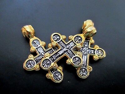 Sterling Silver Orthodox Crucifix Cross Mary, Saints Michael, George, Nichola