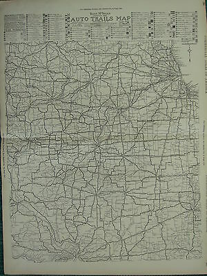 1922 Large America Map Illinois Western Indiana Auto Trails Routes Rand Mcnally