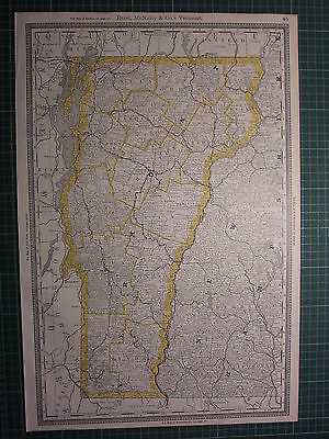 1890 Vermont Large Map State County Railroad ~ Excellent Condition Rand Mcnally
