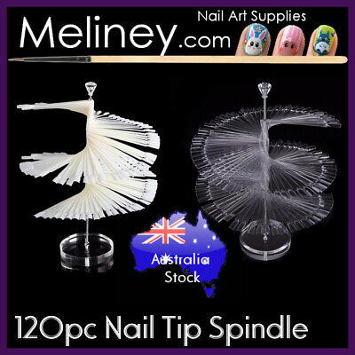 120pc Nail Spindle Polish Swatch Colour Display Tips Spiral Practice Sticks