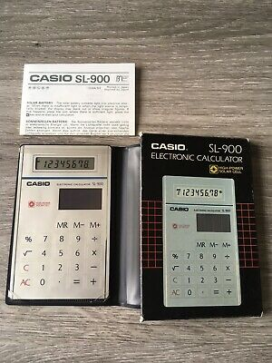 Calculatrice CASIO SL-900 solar Cell Box Complet Vintage Made In Japan Rare