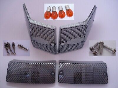 Vespa Px Carbon Effect Indicator Covers Front Rear with Bulbs & Stainless fixing