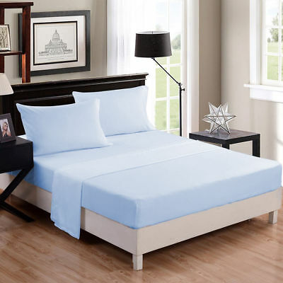 1000 Thread Count Egyptian Cotton Scala Bedding Items UK-Sizes Sky Blue Solid