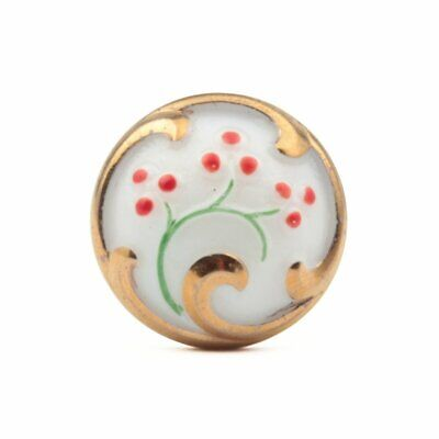 Vintage Czech glass button gold lustre red hand painted white flower floral 23mm