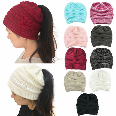 Women's Ponytail Beanie Skull Cap Winter Soft Stretch Cable Knit High Bun Hats