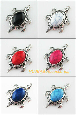 4Pcs Tibetan Silver Animal Tortoise Colored Turquoise Charms Pendant 27.5x42mm