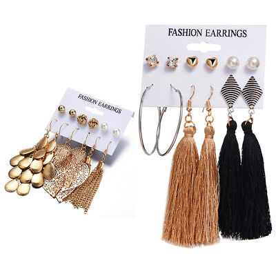 6Pairs Bohemian Long Tassel Pendant Drop Crystal Ear Stud Earrings Jewelry TC
