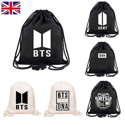 KPOP BTS BANGTAN Boys ARMY Canvas Drawstring Bag Travel Sport Backpack UK