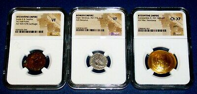 3 NGC GOLD Silver BRONZE Ancient ROMAN Byzantine VF XF Coins Justin Constantine