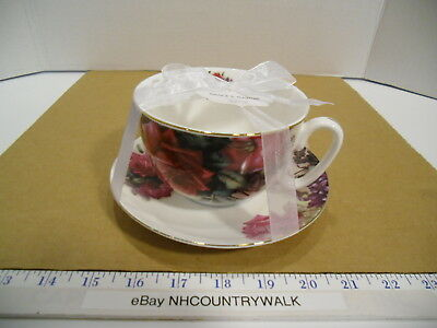 Grace's Teaware Large Pink Rose Floral Tea Cup & Saucer Set - NEW