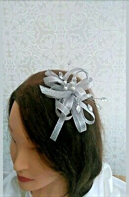 shimmering Silver/grey fascinator headband /croc clip formal/wedding