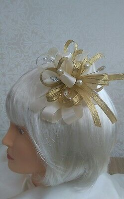 Stunning Gold & cream fascinator with pearls and jewels croc clip/headband NEW