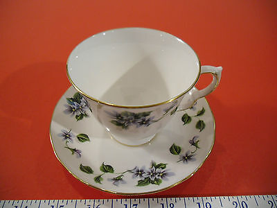 Queen Anne Bone China Tea Cup & Saucer Set #8345, Violets - EUC