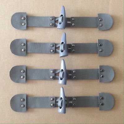"Set of 8 X MOTTLED GREY 1-3//4/"" DUFFLE COAT SINGLE HOLED HORN SHAPE TOGGLES"