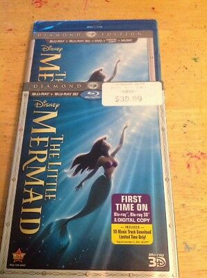 The Little Mermaid 3D(Blu-ray/DVD,2013,3-Disc+Digital Code)NEW AUTHENTIC Disney