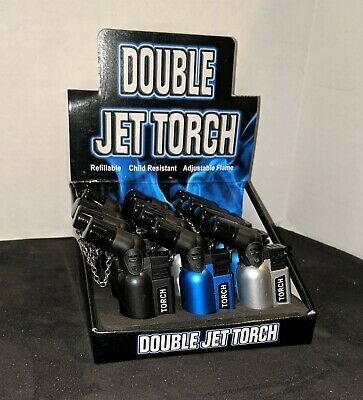 Double Jet Torch Lighters One Dozen (12) Adjustable Refillable Butane NEW 2066