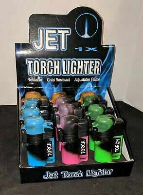 Jet Torch Lighters One Dozen (12) Adjustable Refillable Butane NEW 2065