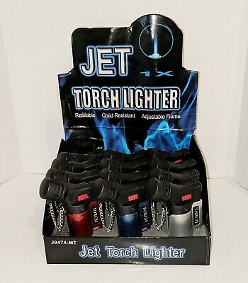 Jet Torch Lighters One Dozen (12) Adjustable Refillable Butane J9474-MT