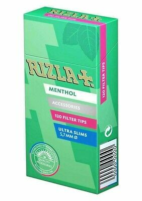 1 X Rizla Menthol Ultra Slim Filter Tips Pop Menthol Smoking Rolling - Free P&P