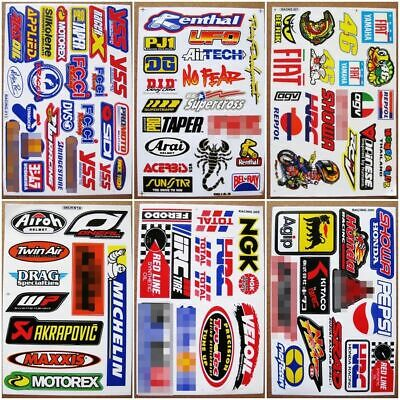 6 planches Autocollant Moto-GP Supercross ATV Motocross Racing Decals stickers