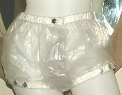 ADULT fetish Sissy PVC PLASTIC  CLEAR front Button  Shorts SIZE XL