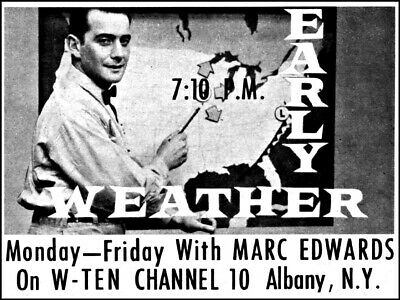 1960 WAST TV News Ad~Karl Osborne & Weather With Yvonne~Albany,New
