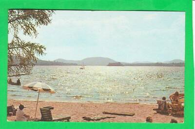 Postcard ~Public bathing beach Lake Pleasant Speculator NY ~ Vintage 6653