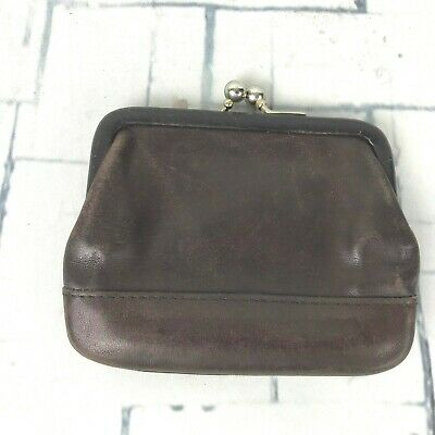 COACH Vintage Brown Leather Framed Kisslock Coin Purse