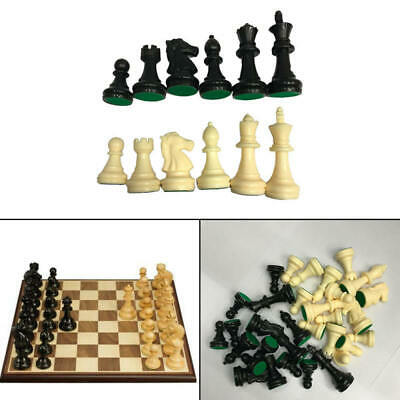 Tournament Chess Pieces Set Weighted Plastic Pieces with King Black&White WAR