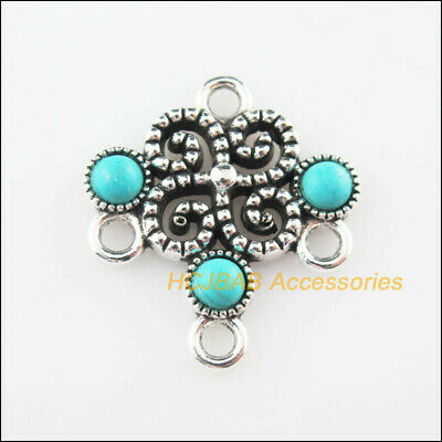 8Pcs Retro Tibetan Silver Tone Round Red Turquoise Charms Connectors 14x21mm
