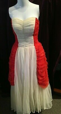 1950s Sylvia Ann Bridal Red & White Party Dress, Gathered Bodice and Sides