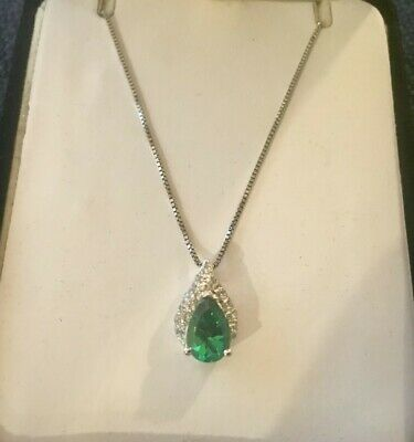 aadc1e495 Kay Jewelers Sterling Silver Lab Created Pear Shaped Emerald Gemstone  Necklace