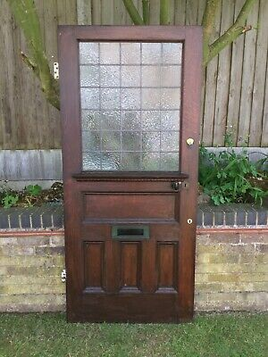 Antique Front Door Oak Victorian Half Glazed Old Reclaimed Vintage Architectural