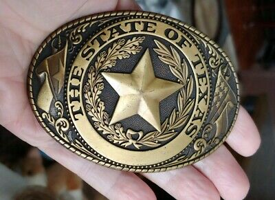 "Vintage oval State of Texas Belt Buckle brass plated 3 3/4x 2 1/2"" E"