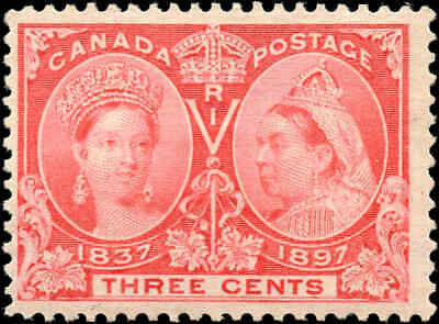 1897 Mint Canada Scott #53 3c Diamond Jubilee Issue Stamp Hinged