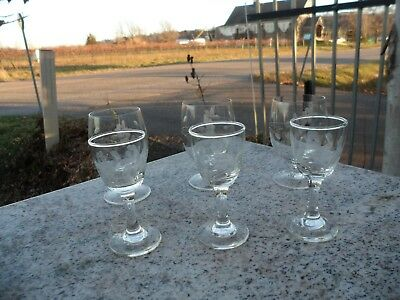 Set of 6 VINTAGE HUGHES CORNFLOWER Crystal GLASS STEMWARE WINE CORDIAL Apertif