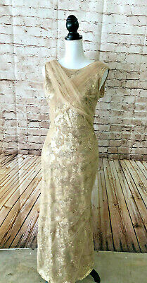 99ef6c3772a4 BETSY & ADAM Black Nude Womens Size 4 Lace-Overlay Ball Gown Dress ...