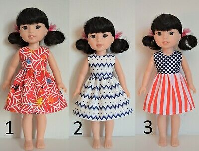 "Handmade Doll Clothes Dress Colors for 14.5"" AG Wellie Wishers and H4H Dolls S"